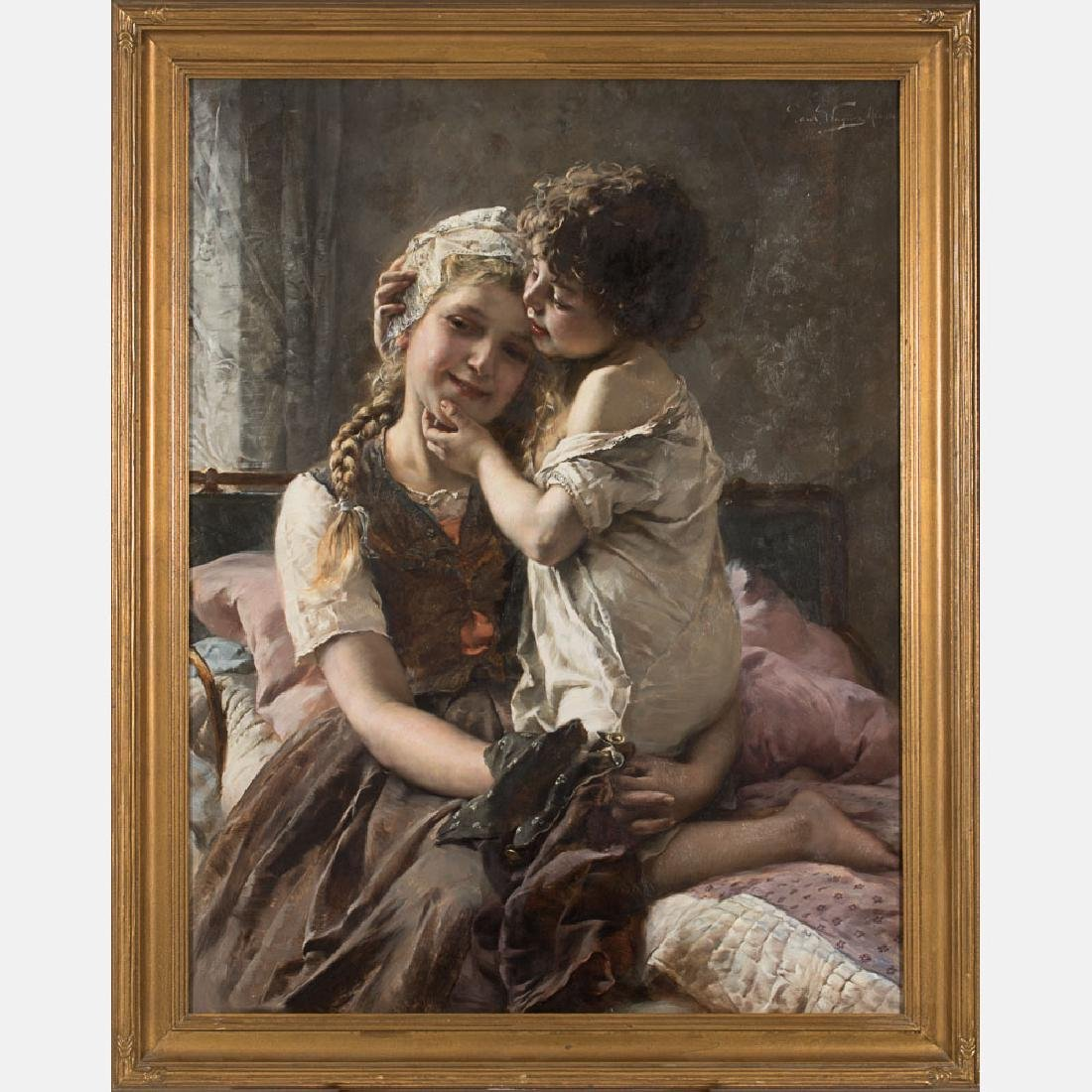 Paul Hermann Wagner (1852-1937) Two Siblings, Oil on