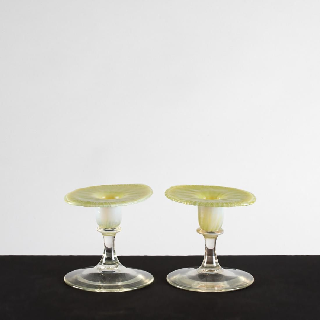 A Pair of Tiffany Yellow Pastel Favrile Glass