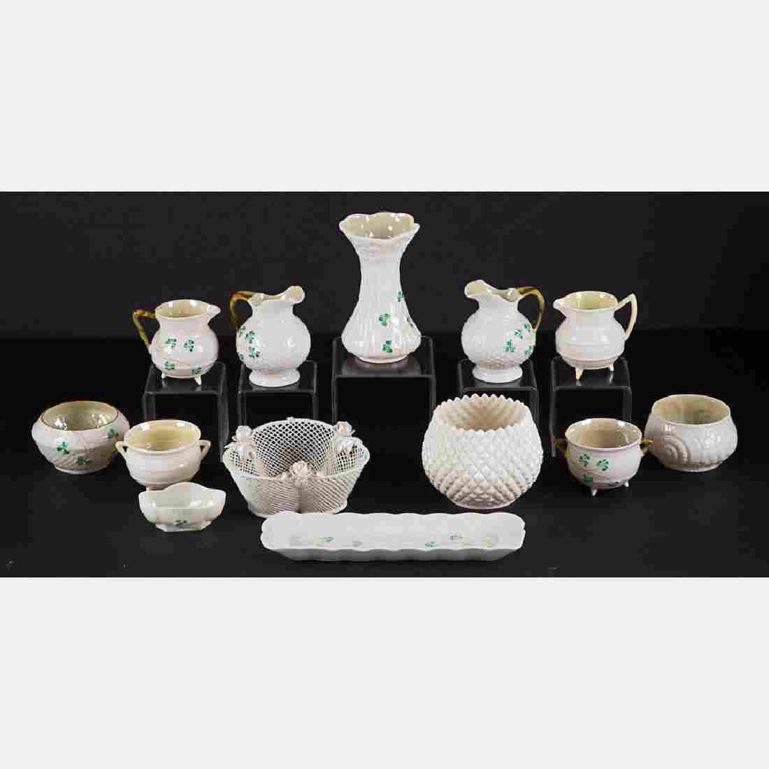 A Miscellaneous Collection of Beleek Porcelain Serving