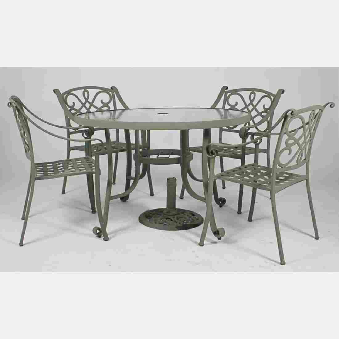 A Contemporary Cast Aluminum Garden Set, 20th Century,