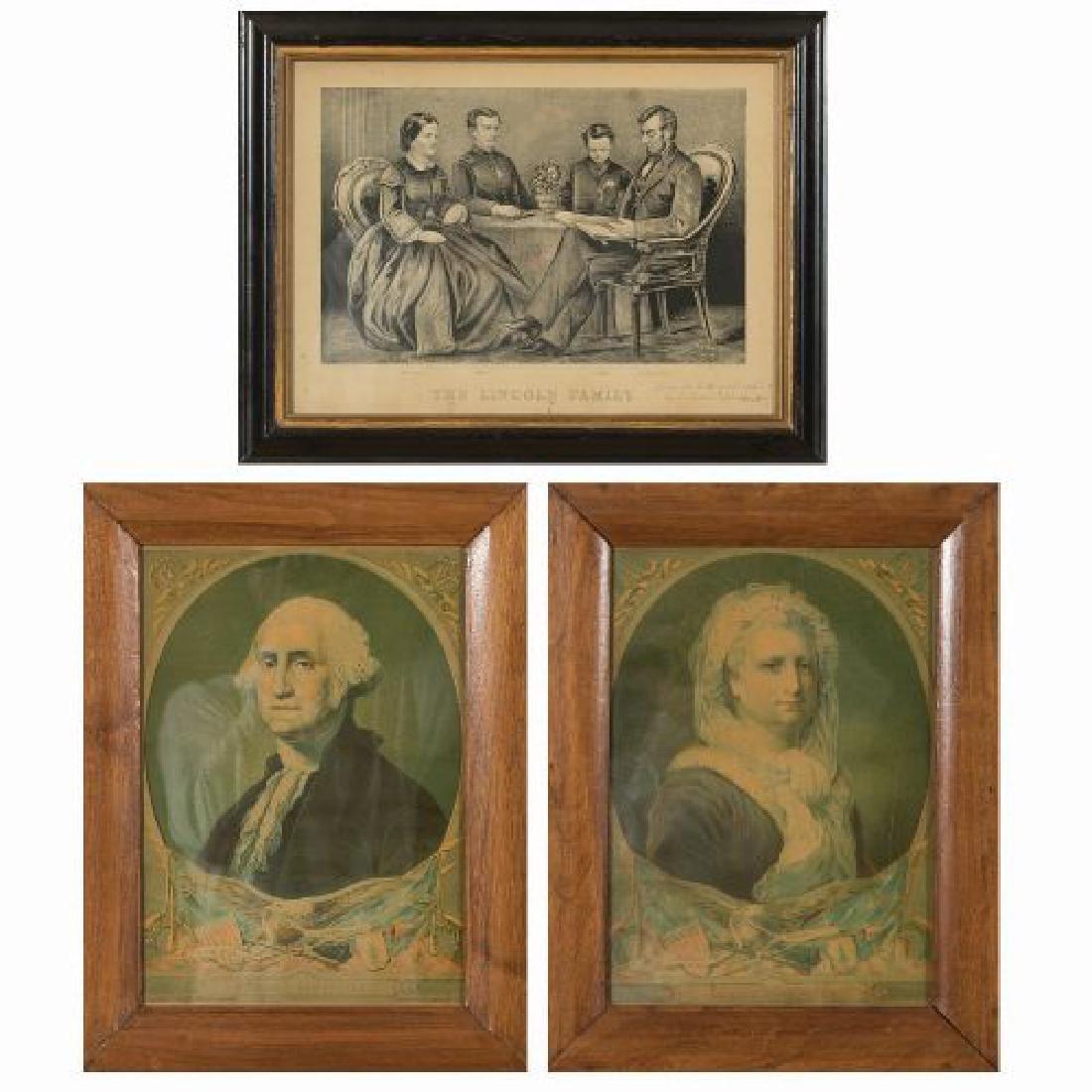 A Pair of Framed George and Martha Washington