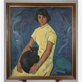 Juan Rimsa (1903-1978) Portrait of a Woman with Cat,