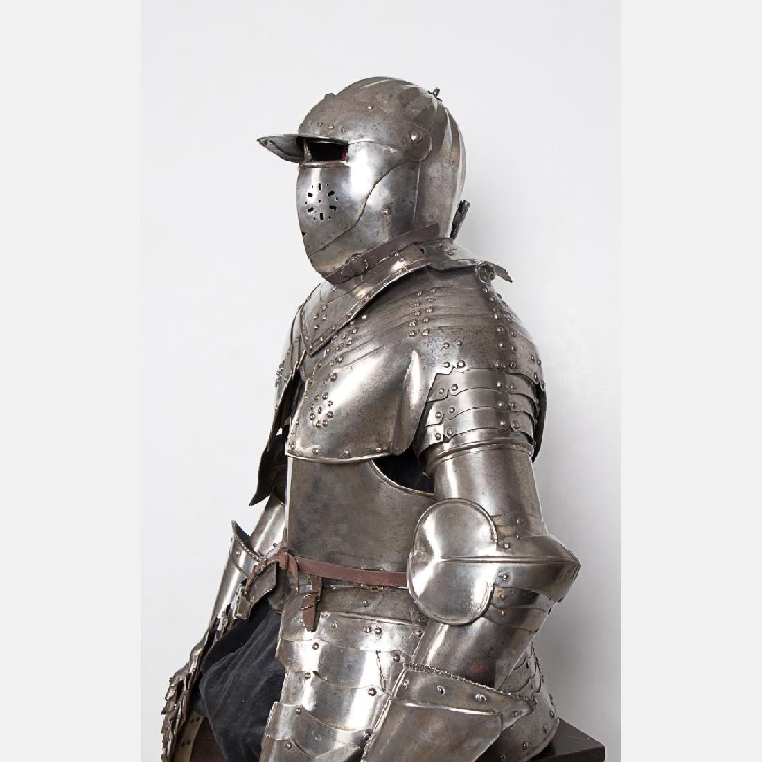 A Complete Set of English Three Quarter Suit of Armor, - 3