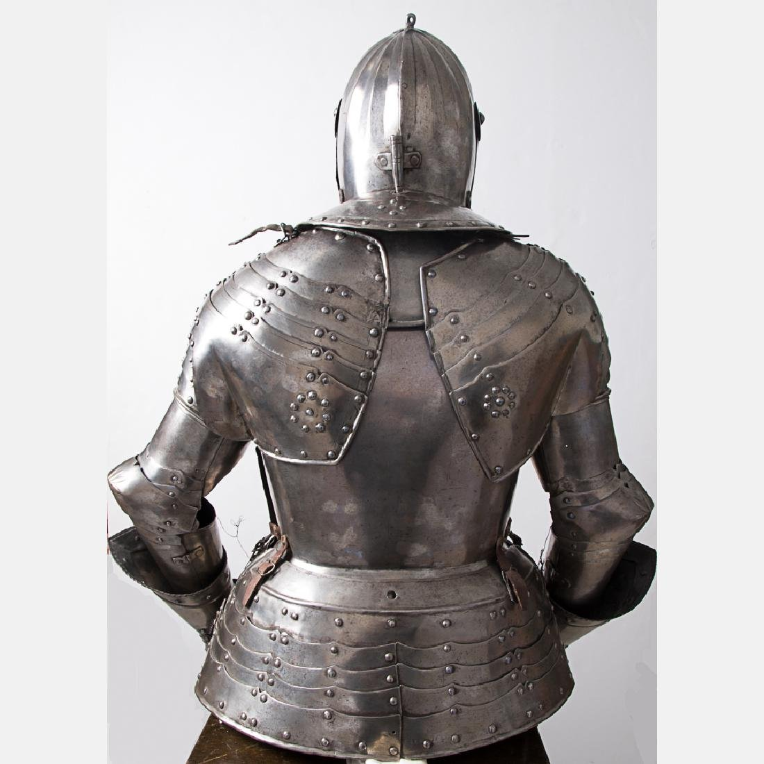 A Complete Set of English Three Quarter Suit of Armor, - 4