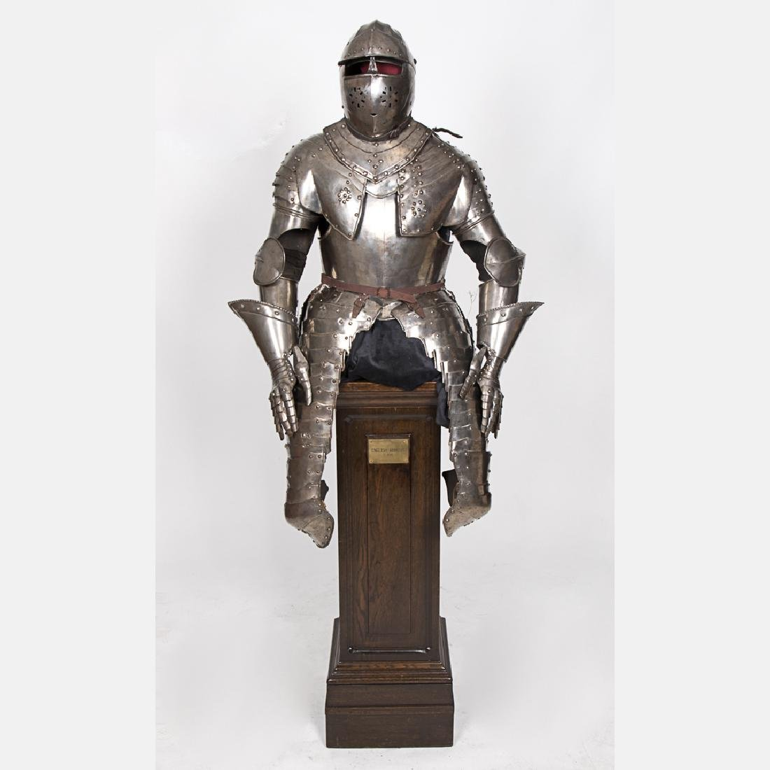 A Complete Set of English Three Quarter Suit of Armor, - 5