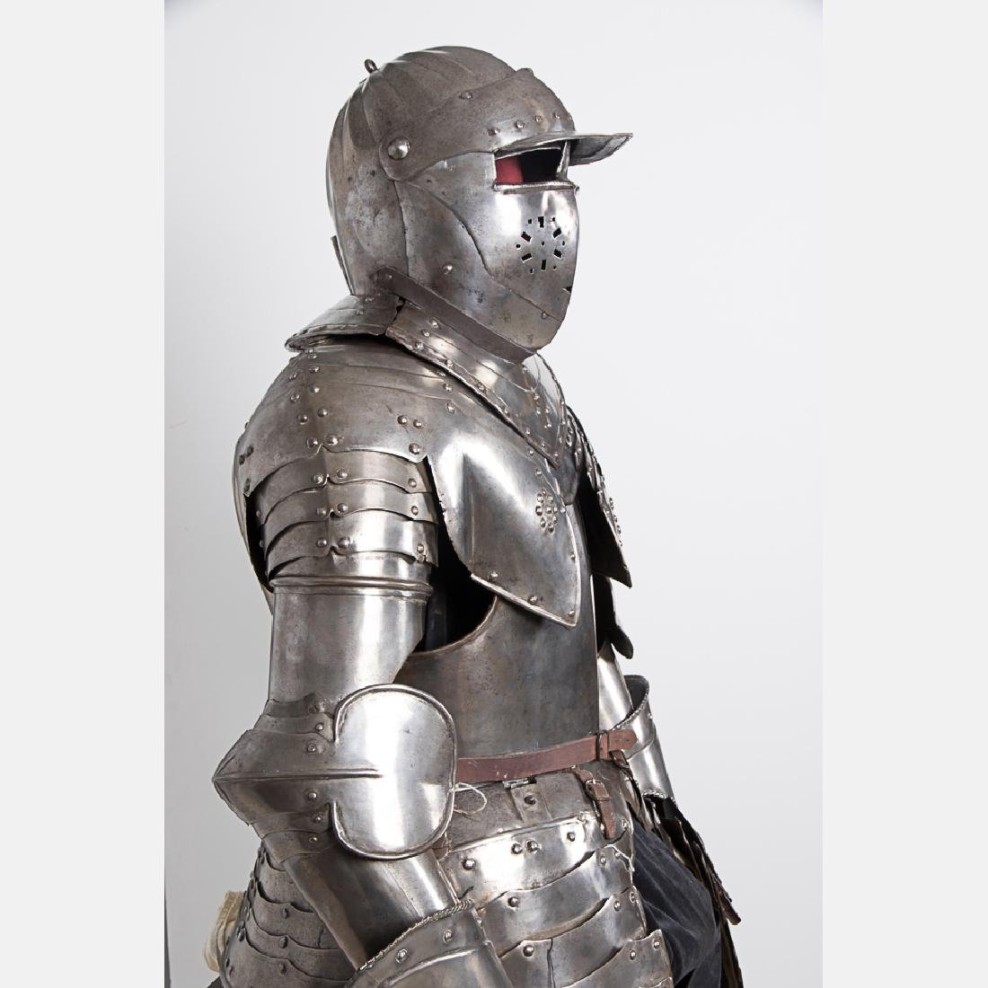 A Complete Set of English Three Quarter Suit of Armor, - 6