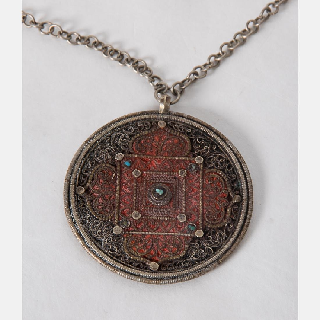 A Collection of Tibetan Silvered Metal, Brass, - 2