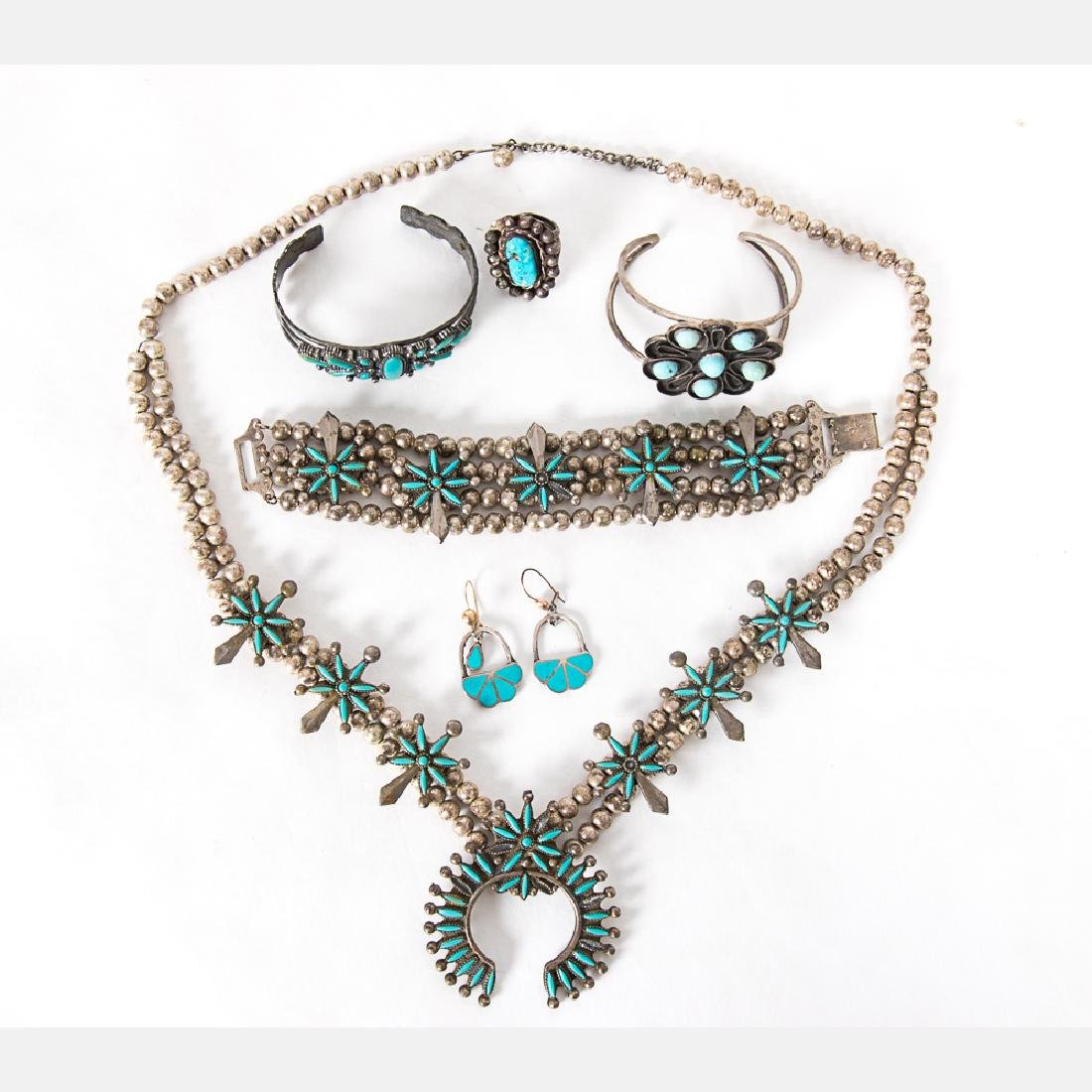 A Collection of Navajo Silver and Turquoise Jewelry,