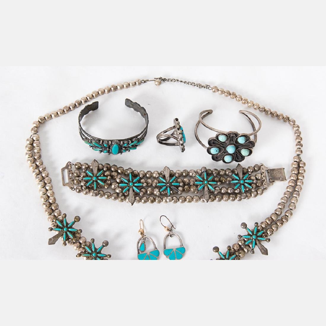 A Collection of Navajo Silver and Turquoise Jewelry, - 2