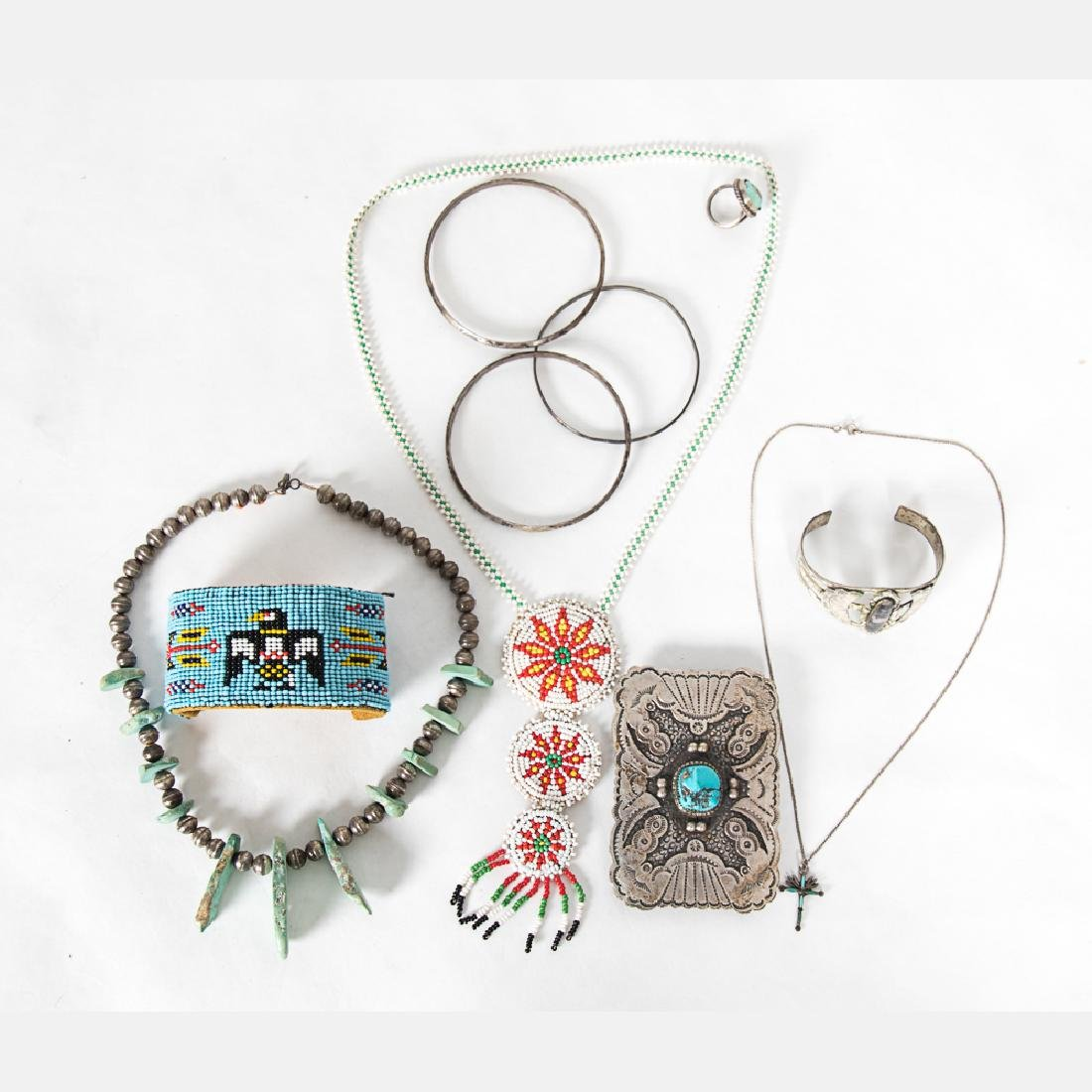 A Collection of Navajo Silver, Turquoise and Beaded