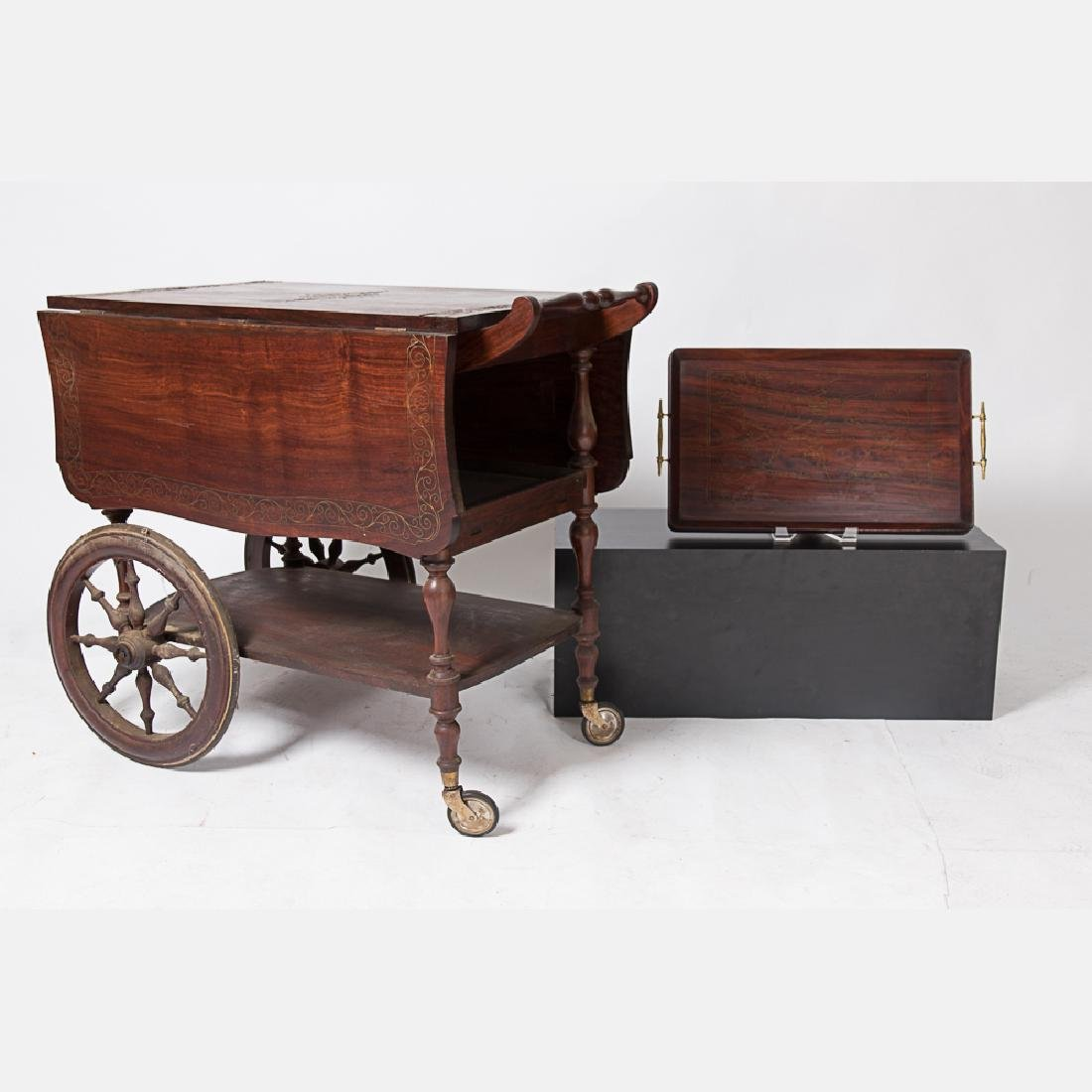 A Mahogany and Brass Inlay Tea Cart, 20th Century,