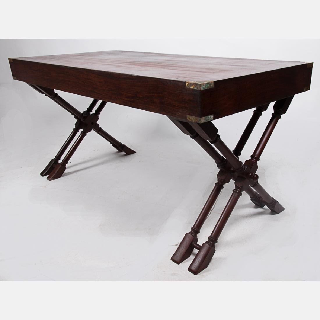 A Campaign Style Mahogany and Brass Desk, 20th Century. - 2