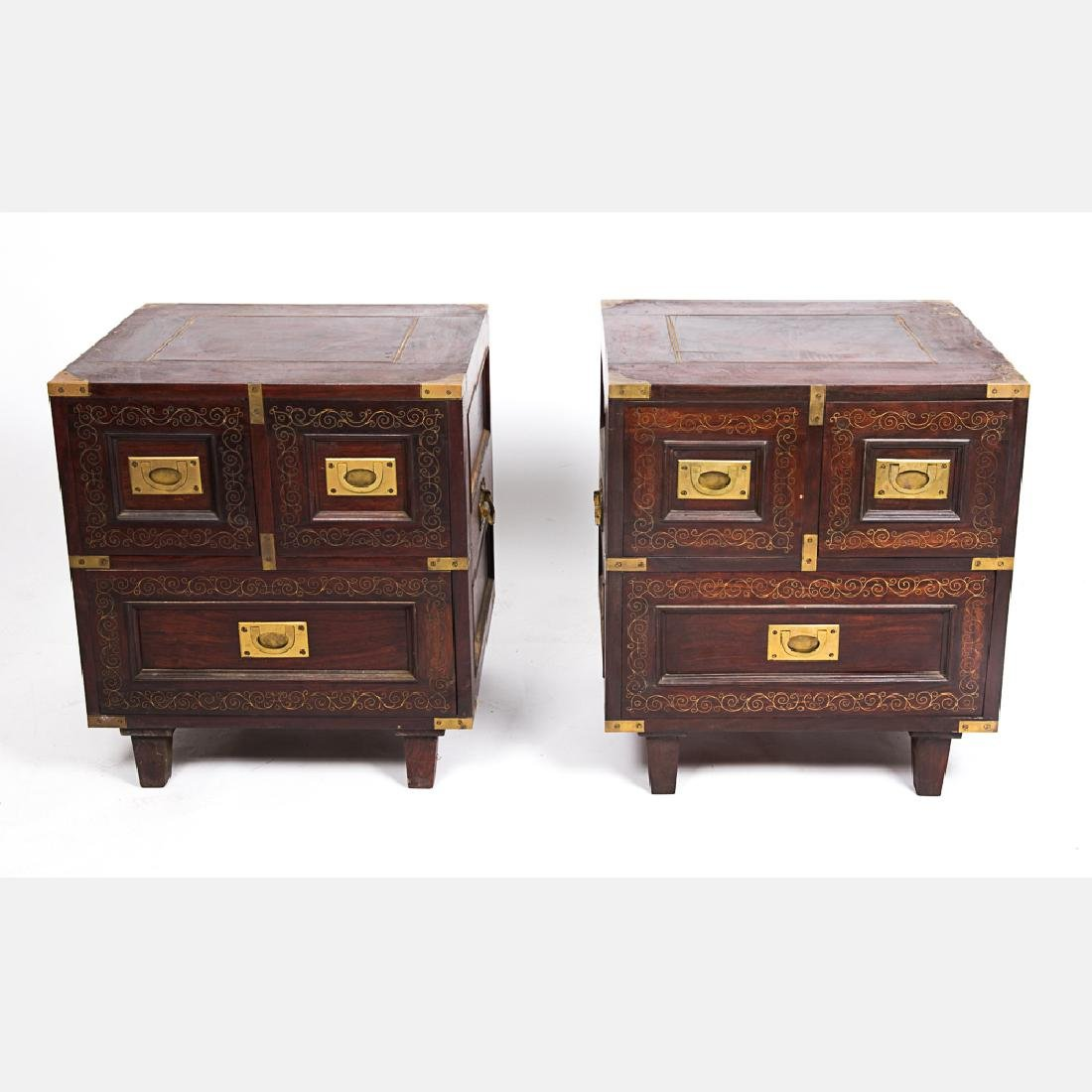 A Pair of Campaign Style Mahogany and Brass Side Tables