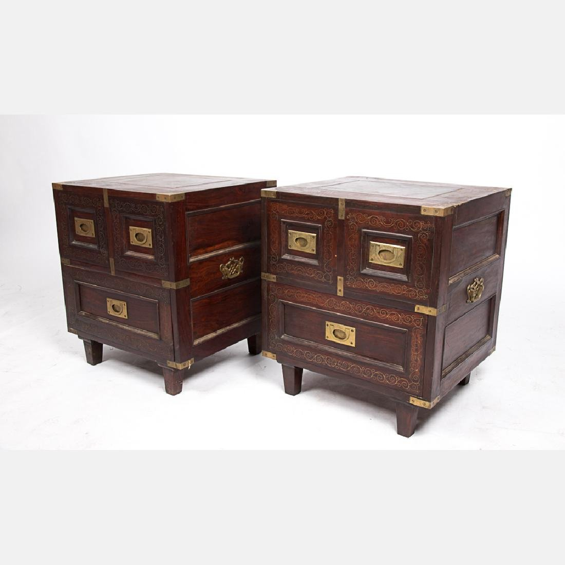 A Pair of Campaign Style Mahogany and Brass Side Tables - 2