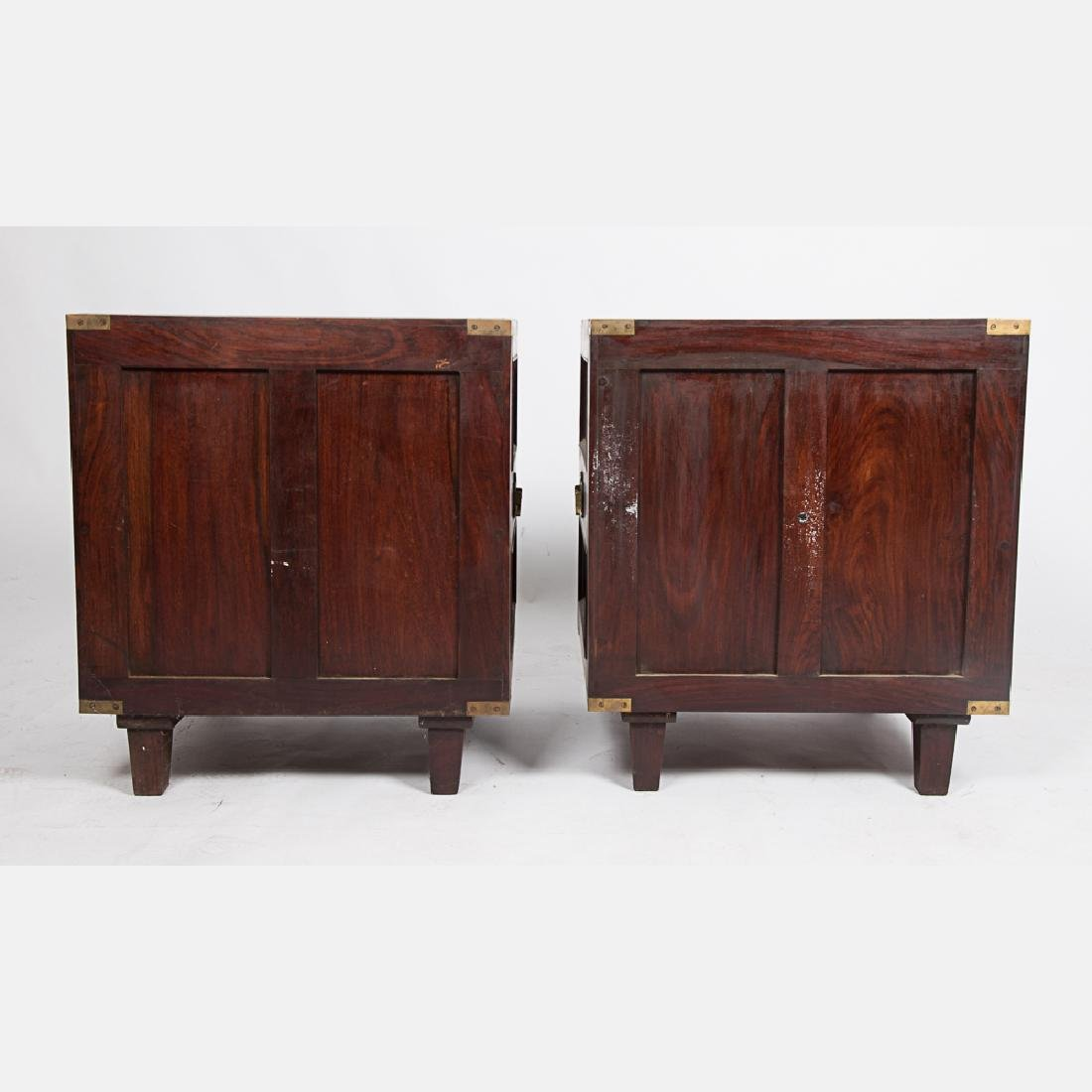 A Pair of Campaign Style Mahogany and Brass Side Tables - 3