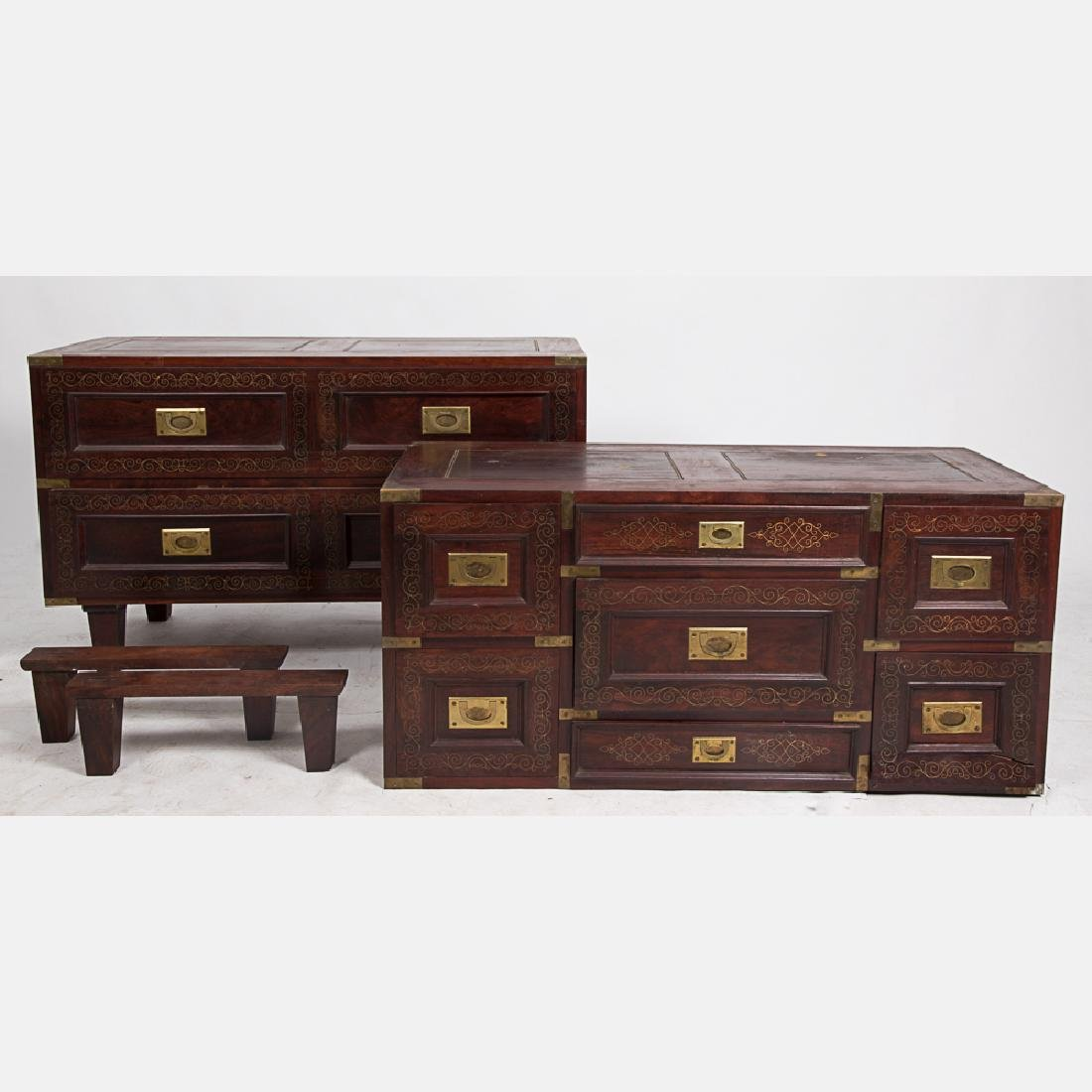 A Campaign Style Mahogany and Brass Stackable Double