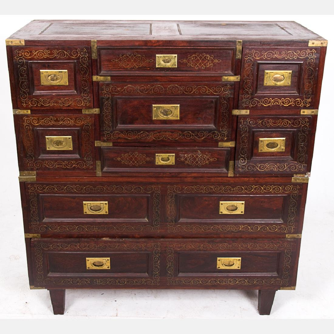 A Campaign Style Mahogany and Brass Stackable Double - 3