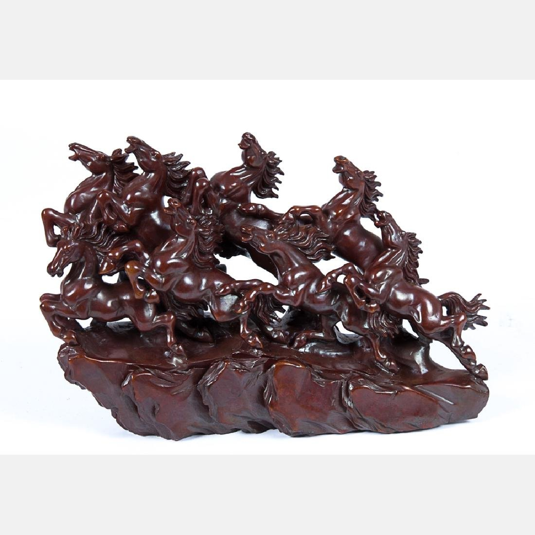 Two Chinese Carved and Painted Hardstone Horse - 6