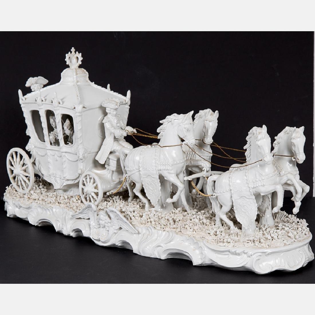 A Sitzendorf Blanc de Chine Porcelain Horse Drawn