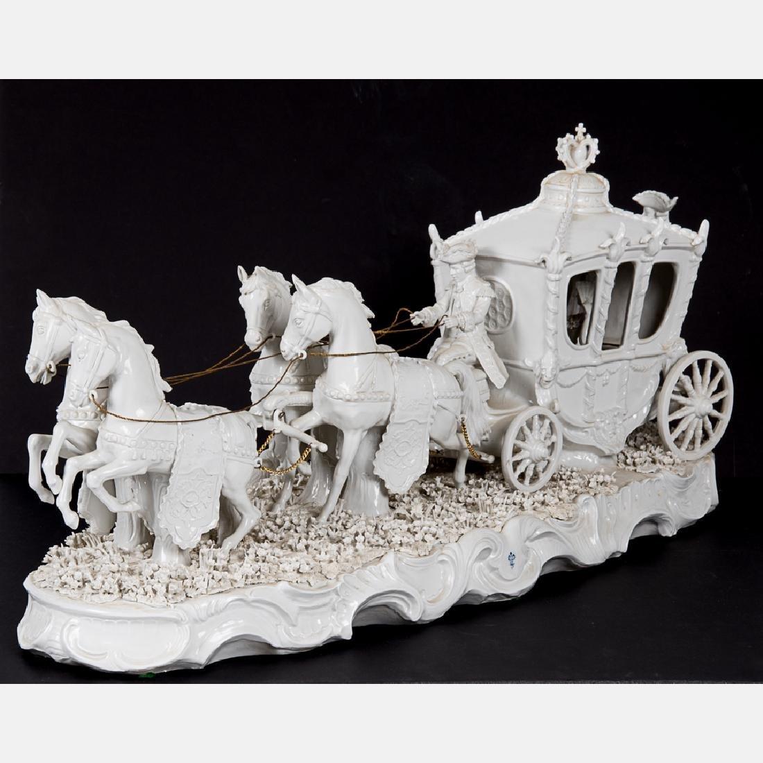 A Sitzendorf Blanc de Chine Porcelain Horse Drawn - 2