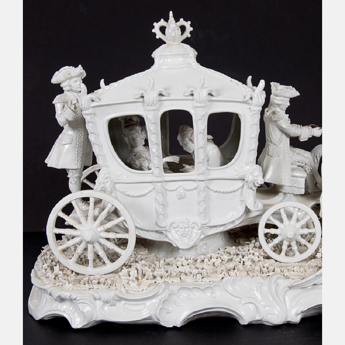 A Sitzendorf Blanc de Chine Porcelain Horse Drawn - 3