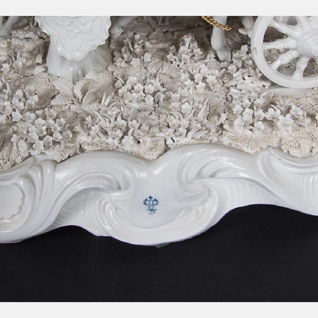 A Sitzendorf Blanc de Chine Porcelain Horse Drawn - 4
