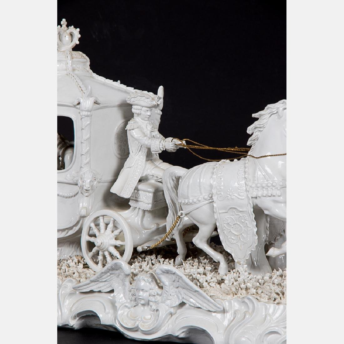 A Sitzendorf Blanc de Chine Porcelain Horse Drawn - 5