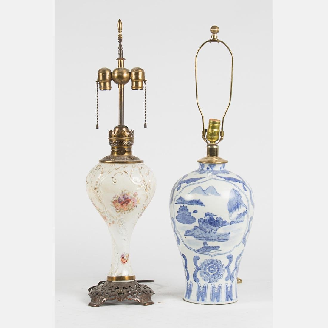 A Chinese Blue and White Porcelain Table Lamp, 20th