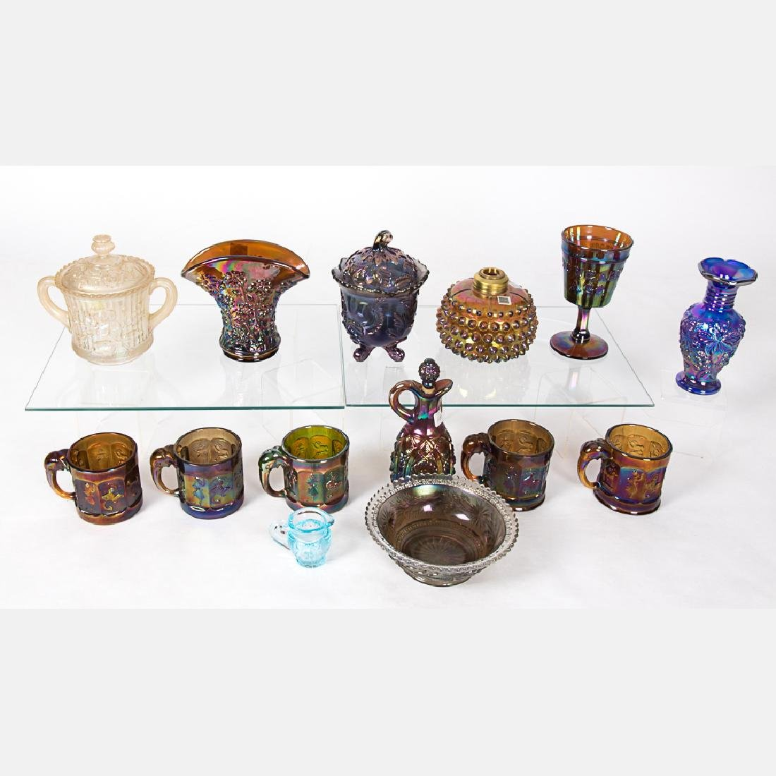 A Collection of Carnival Glass Serving and Decorative