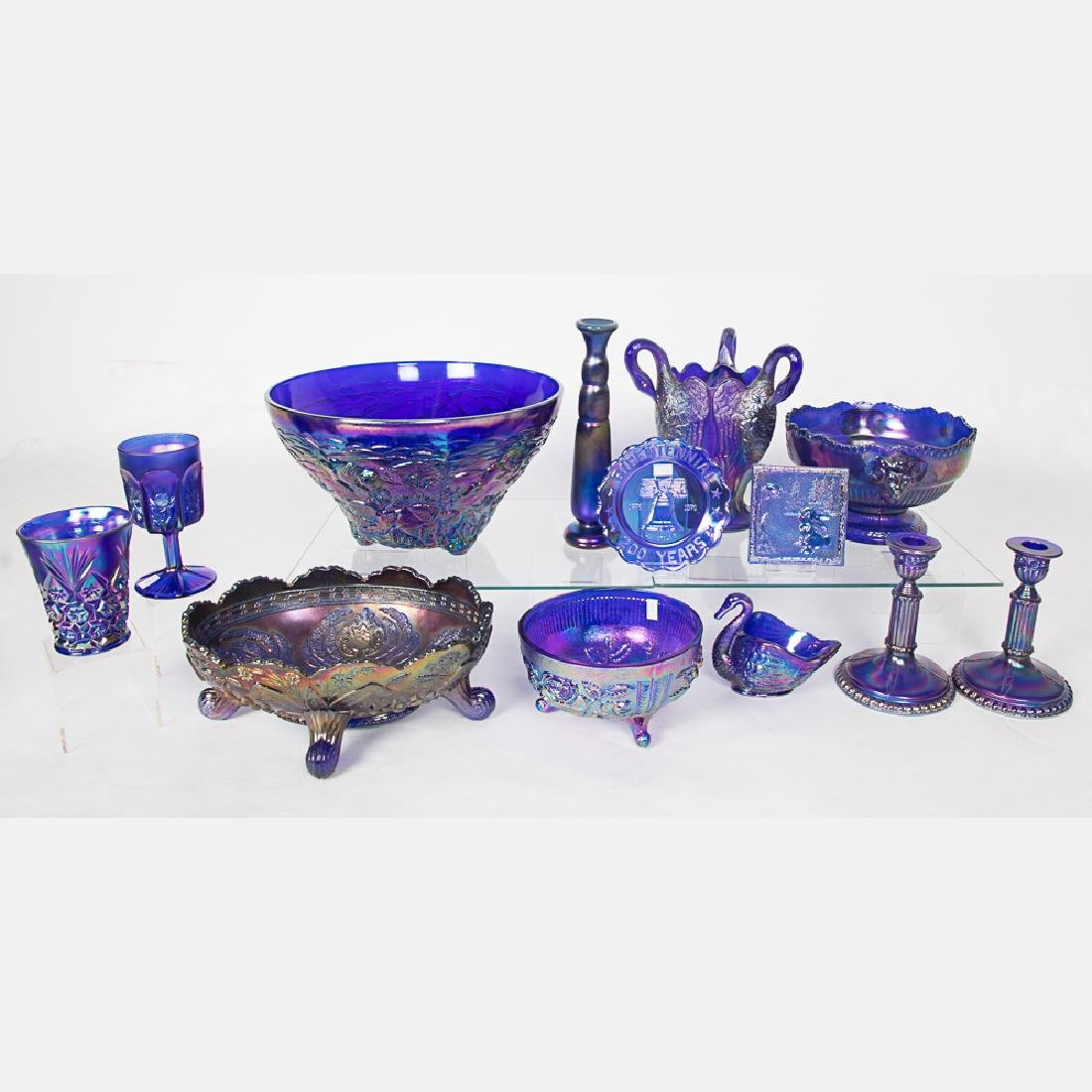 A Collection of Cobalt Carnival Glass Serving and