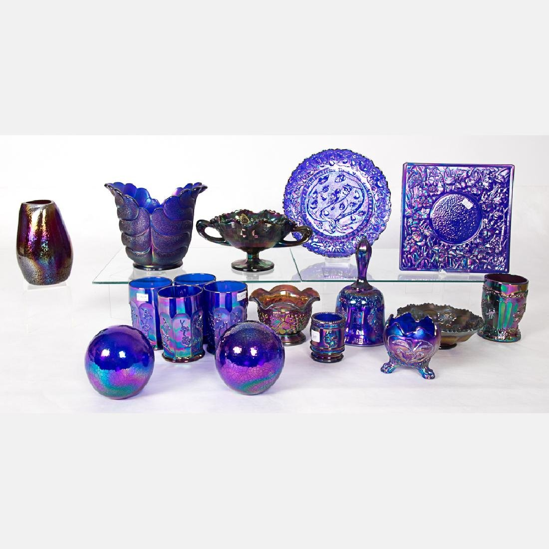 A Collection of Cobalt Carnival Glass by Various