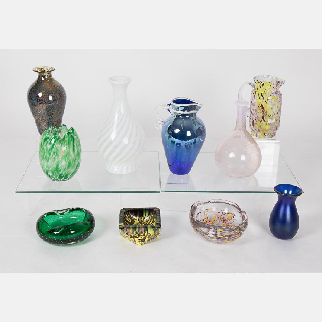 A Collection of Colored Blown Glass Decorative Items by