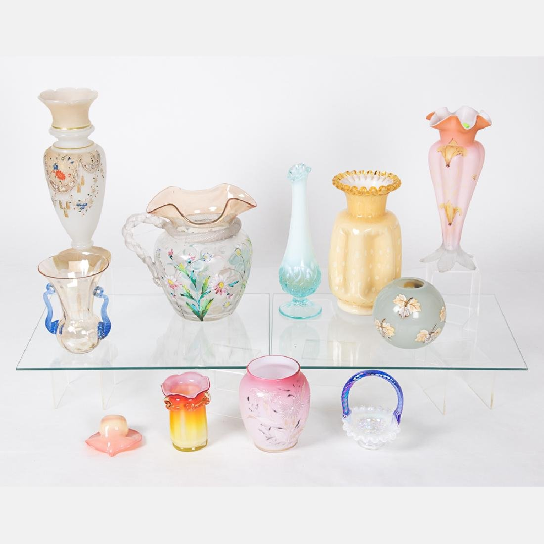 A Collection of Colored Blown Glass and Enameled