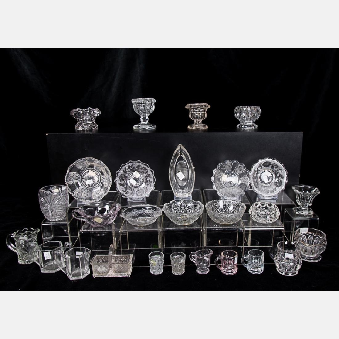 A Collection of Clear, Cut and Pattern Glass Serving