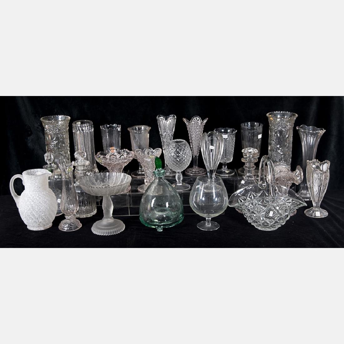 A Collection of Molded, Blown and Etched Clear Glass