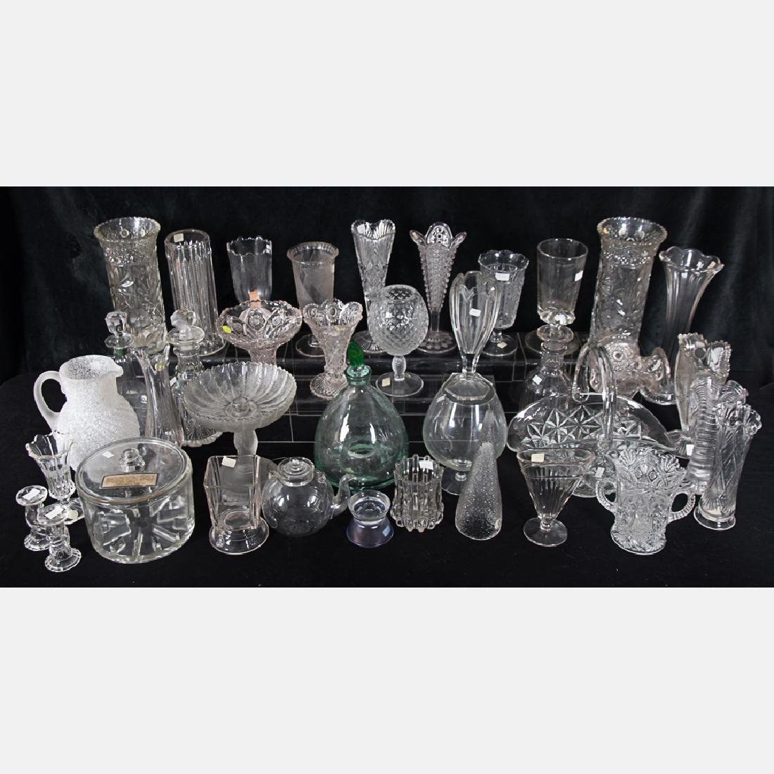 A Collection of Molded, Blown and Etched Clear Glass - 2