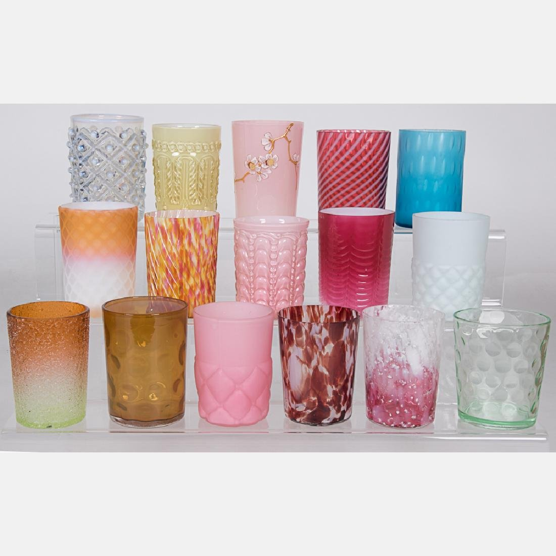 A Collection of Victorian Colored Glass Tumblers,