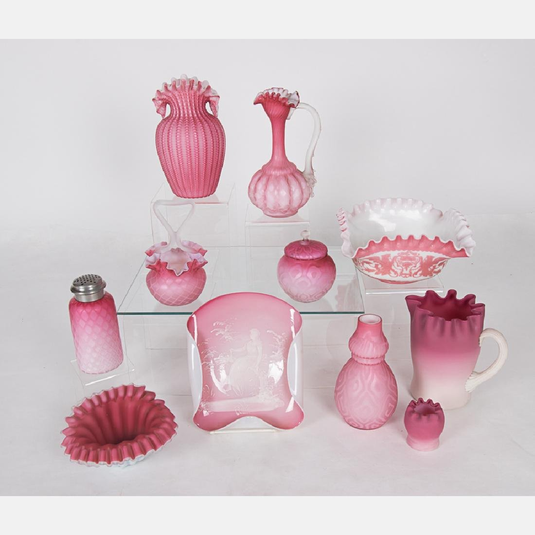 A Collection of Pink Peachblow Satin Glass and Burmese