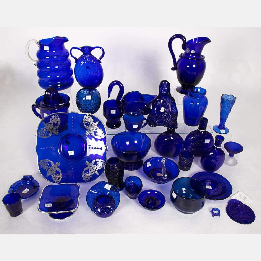 A Collection of Cobalt Blue Glass Serving and