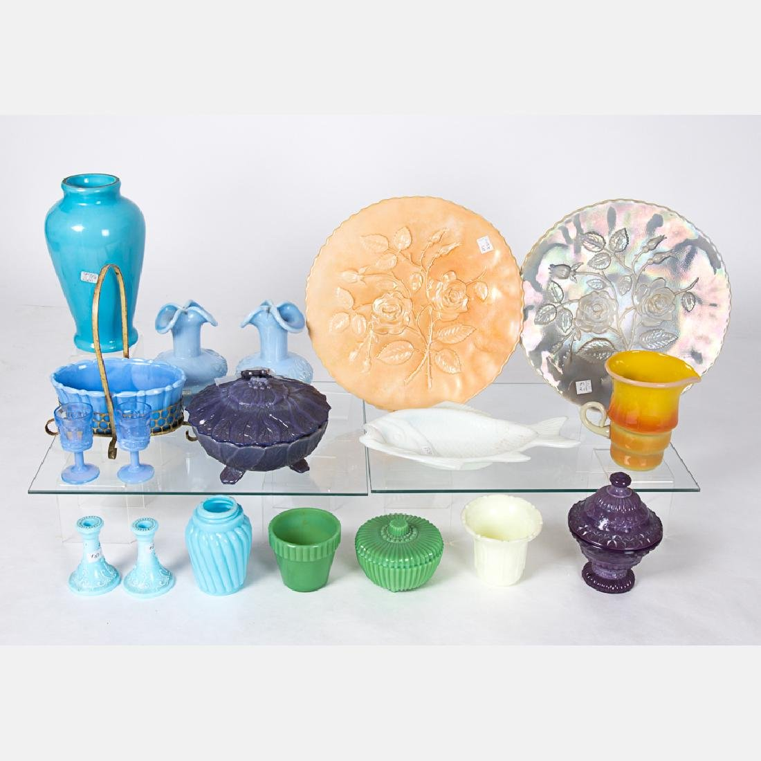 A Collection of Colored Pressed Glass Serving and