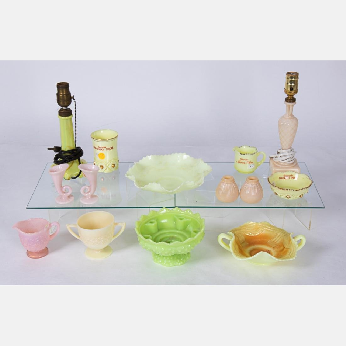 A Collection of Colored Pressed Glass Decorative Items