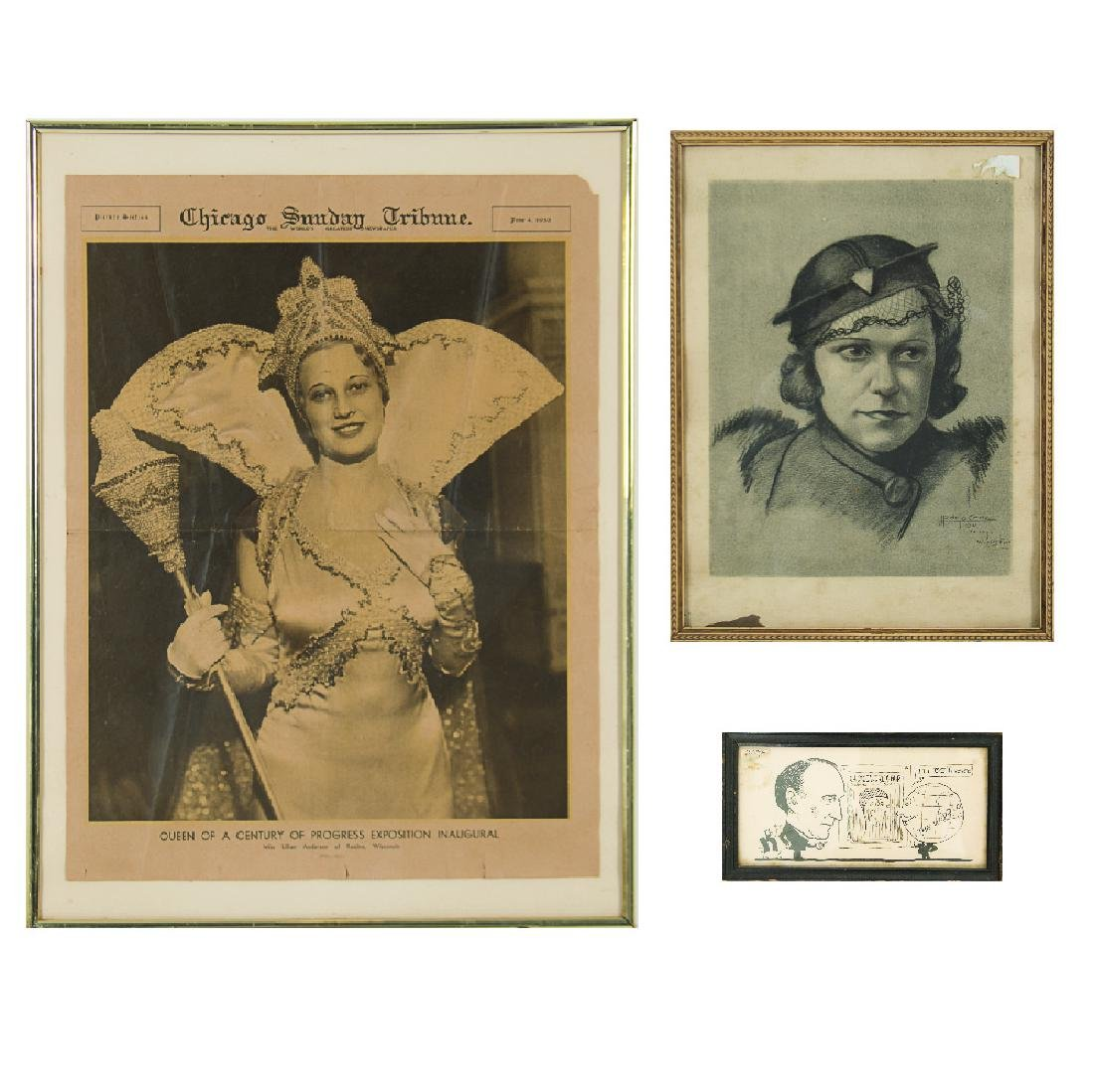 A Group of Three Framed Souvenirs from the Century of