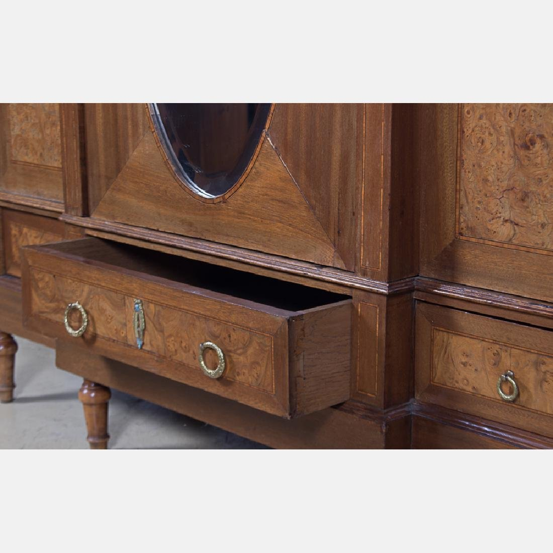 A Louis XVI Style Burlwood Armoire with Fruitwood - 7