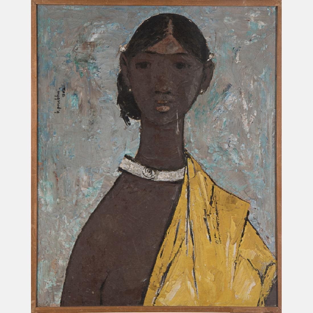 B. Prabha (1933-2001) Portrait of a Female, Oil on
