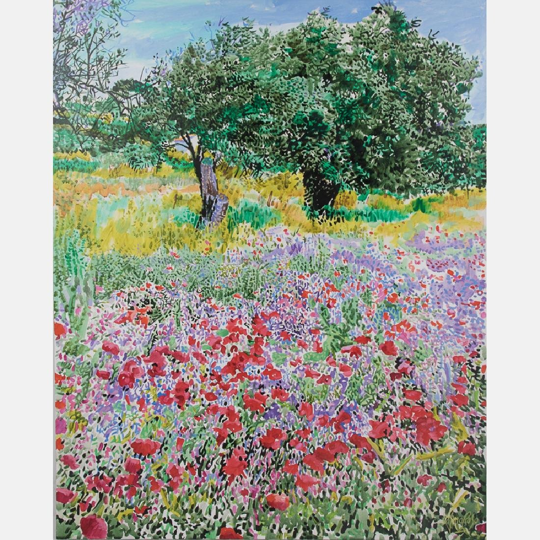 Jack Amoroso (b. 1930) Field of Poppies and Lavender,