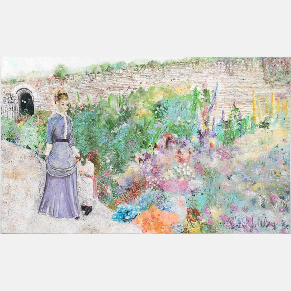 Renee Goldberg (20th Century) Figure in a Garden, Oil