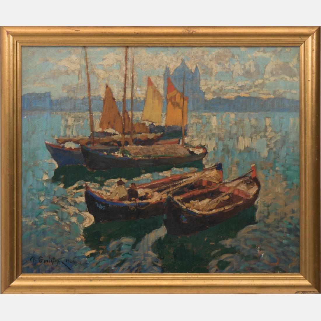 Konstantin Ivanovich Gorbatov (1876-1945) Venice Boats,