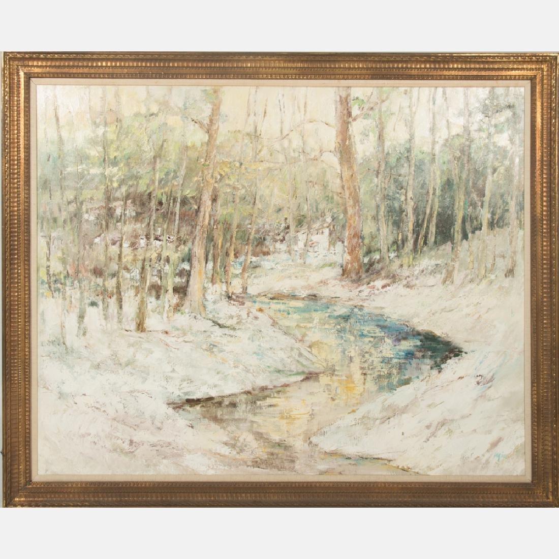 Mia (20th Century) Forest Scene, Oil on canvas,