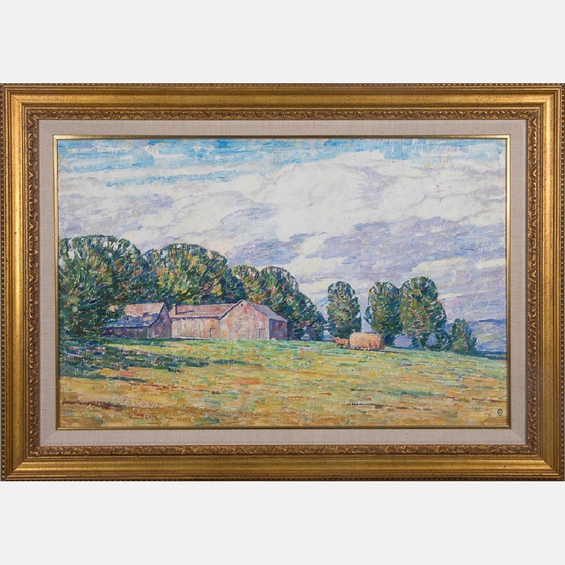 Dines Carlsen (1901-1966) Farm Scene, Oil on canvas,