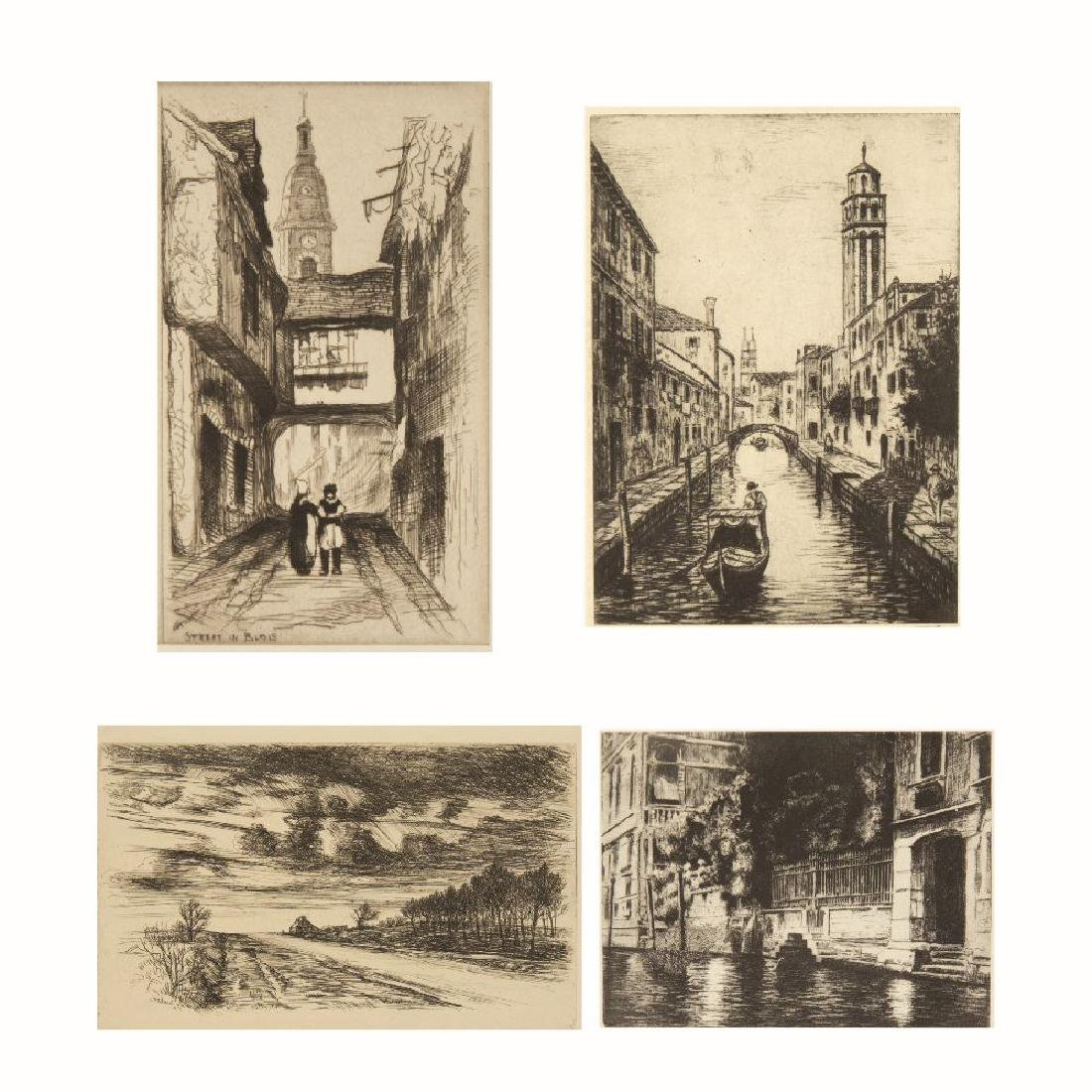 John Taylor Arms (1887-1953) Street in Blois, Etching,